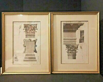 """Pair of Framed and Matted Architectural Prints Depicting Roman Columns 15"""" x 19"""""""