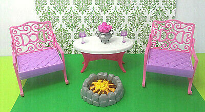 Barbie Doll Furniture Patio Outdoor Furniture Chairs Table Flowers