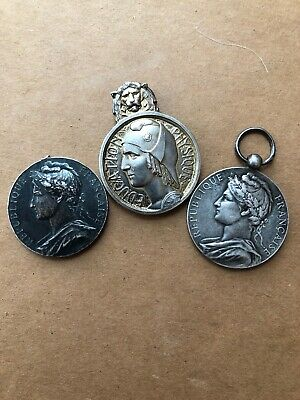 Lot Of French Stamped Silver Medals