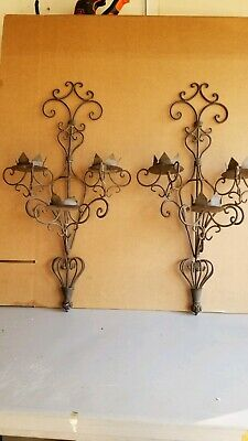 "Pair Antique Gothic Spanish Revival 32"" Tall Wrought Iron Hand Made Sconces"