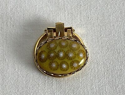 New Old Stock Dark Yellow/Green Millefiori Enamelled Hand Made Metal Scarf Ring