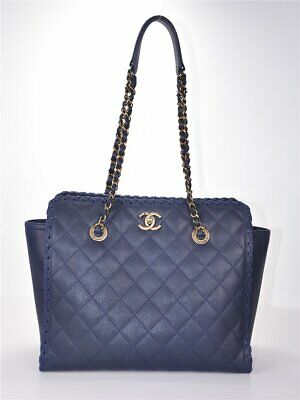 a9c11073debbef CHANEL CC A92878 Blue Iridescent Quilted Leather Shopper Tote neuw.  schimmert*