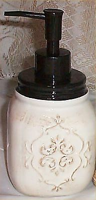 Mason Jar Soap Pump White Antiqued Kitchen Bathroom Accessory Food Safe