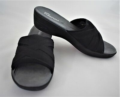 6408cda5bcc2 Easy Spirit Explore 24 Womens Shoes Sandals Size 7.5N Black Leather Slip On