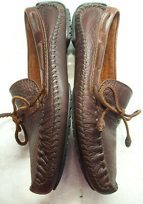 d82c12f9245ad H.S. Trask Full Grain Bison Leather Driving Mocs Loafers Shoes~Brown Mens  12D