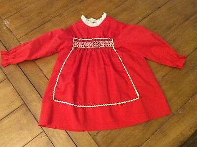 650035365c59 Vintage retro embroidered red white Toddler Girl Dress Size 2/3 - Christmas