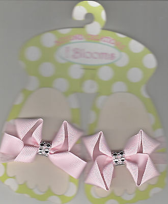 Baby Shoe Headband Bows, Pink, By i Bloom, Brand New