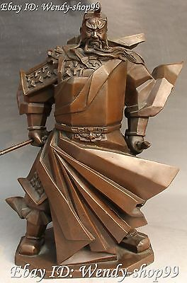 "16"" Chinese Pure Bronze Ancient Stand Guan Gong Yu Warrior God Hold Knife Statue"
