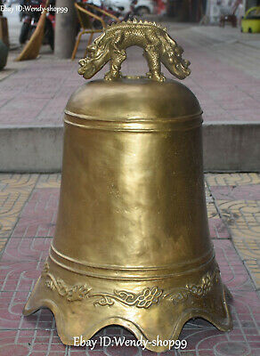 "9"" Collect Chinese Ancient Bronze Dragon Dragons Beast Bell Bells Clock Statue"