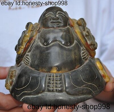 "6""Rare Chinese Buddhism Old Ox horn Carving 5 Boys Wealth Maitreya buddha statue"