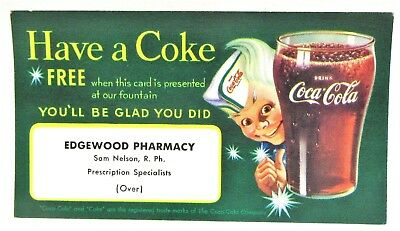 Vintage Coke a Cola Owl Rexall Drug Seattle Wash Free Coke w Sandwich Card  T77