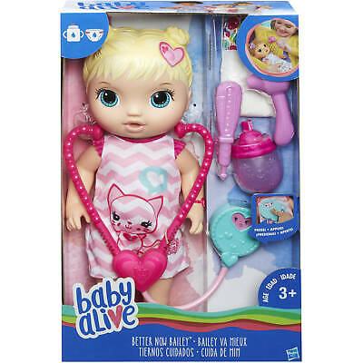 "New Baby Alive Better Now Bailey Blonde Pretend play Doctor Age 3+ 12"" Doll"