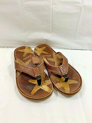 82db83496f4 CLARKS BENDABLES SILVER Brown Leather Flower Thong Flip Flop Sandals ...