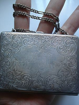 Antique MM Women Gift~Vtg Victorian Sterling Silver Etched Flower Purse~Free Shp