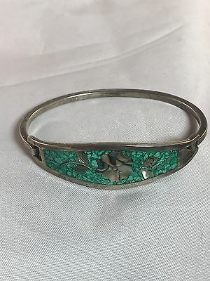 Vintage Alpaca Mexico Silver Abalone Turquoise Inlay Hook Bangle Bracelet