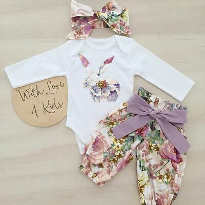 US Newborn Baby Girl Floral Rabbit Tops Romper Flower Pants 3Pcs Outfits Clothes