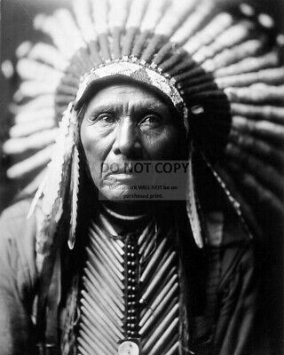 Chief Three Horses By Edward S. Curtis Lakota Sioux Warrior - 8X10 Photo (Rt794)