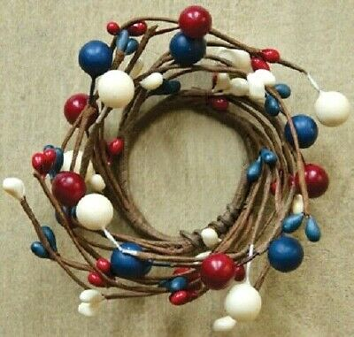 """NEW!!! Primitive Country Patriotic RED WHITE & BLUE Americana BERRY Ring 1 1/2"""""""