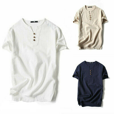 4085cdd0 Mens Casual Classic Button Henley Shirt Short Sleeve Pure Color Loose T- shirts