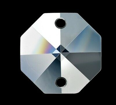 Clear Octagon Crystals Asfour 14mm Suncatcher Prism Bead 2 holes - 5pc