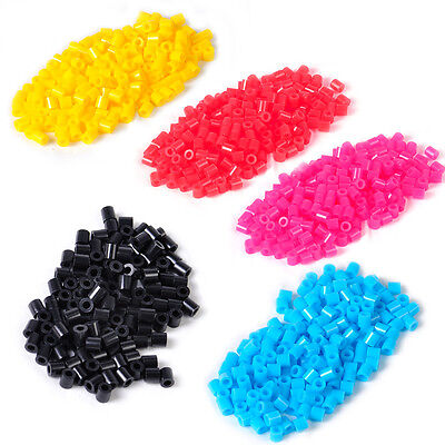 1000pcs 5mm Fun Fusion Fuse Refill Beads Craft DIY Toy Solid Color Kids Children