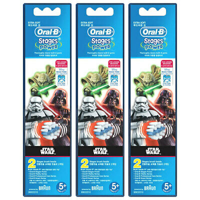 6x Oral-B Stages Power Replacement Heads f/ Kids Electric Toothbrush Star Wars
