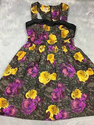 ef8920f7e6 Anthropologie Twinkle By Wenlan Floral Racerback Retro Back Cut Out Dress  Sz 2