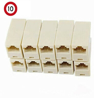 10PCS RJ45 Female to Female Network Ethernet Lan Cable Joiner Connector new AU