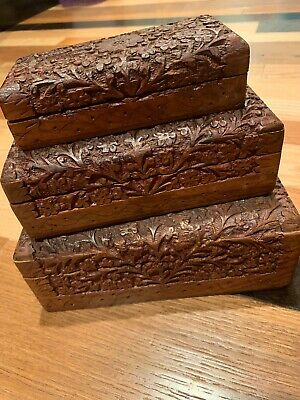 Set Of 3 Vintage Hand Carved Wooden Nesting Boxes Hand Carved in India