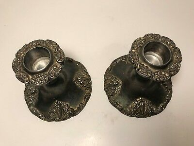 "Vintage Godinger Silver Art Co Silverplate 3.5"" Candle Holders Baroque Set of 2"