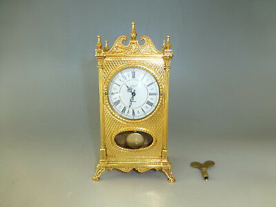 Antique German Gold Gilt Case Mechanical Wind Up Swing Pendulum Clock (See Video