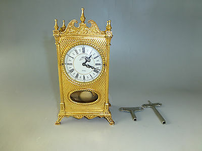Exc Antique German Gold Gilt Case Mechanical Carriage Swing Pendulum 8 Day Clock