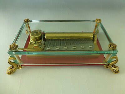 Vintage Swiss Reuge 72 3 Songs Music Box Crystal Clear Glass Case Dolphin Legs