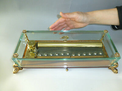 Vintage Reuge Crystal Glass / Brass Dauphin Feet 144 Note Music Box (See Video)