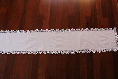 Vintage long white linen table runner with crochet edges white embroidery.