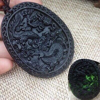 1PC China Natural Black Green Jade Hand Carved Jade Pendant Dragon Lucky Amulet