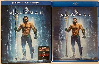Dc Aquaman Blu Ray Dvd 2 Disc Set + Slipcover Sleeve Free World Wide Shipping