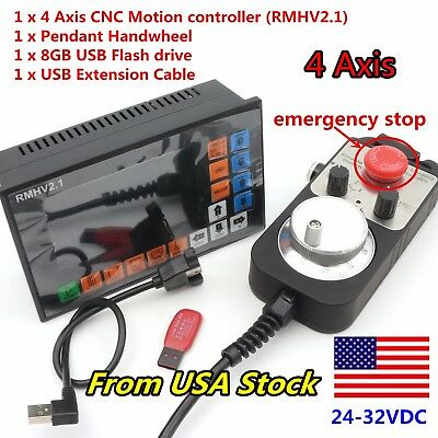|US| 4 Axis stand-alone Offline CNC Motion Controller G-Code+Handwheel w/ E-Stop