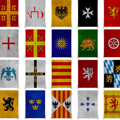 Middle Ages Coat of Arms Banner Poster Cloth Prints A3 Size Wall Art Home Decor