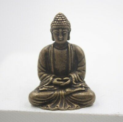 Handmade Pure Copper Antique Little Buddha Statue Decoration Collection Bless