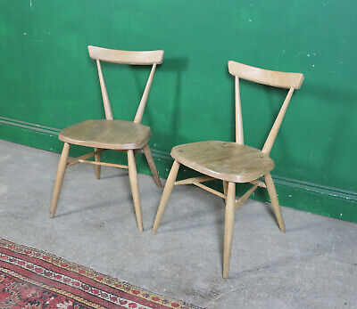 Pair Vintage Ercol Stacking Chairs, Dining, Kitchen, Medium, Retro, Mid Century