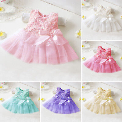 Flower Girls Princess Dress Kids Baby Party Pageant Lace Tulle Tutu Dresses UK