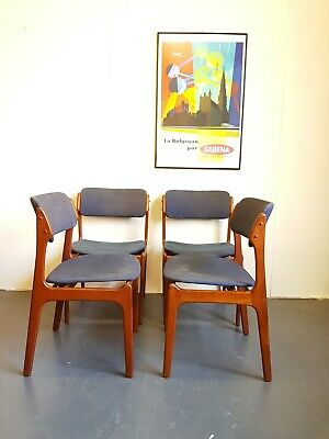 4 Danish Mid Century Vintage Teak Chairs by Eric Buch -Delivery -London se15