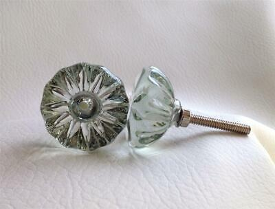 """Antique Vintage Style Clear Glass Crystal Cabinet Knobs Pulls 1-1/4"""" Diameter"""