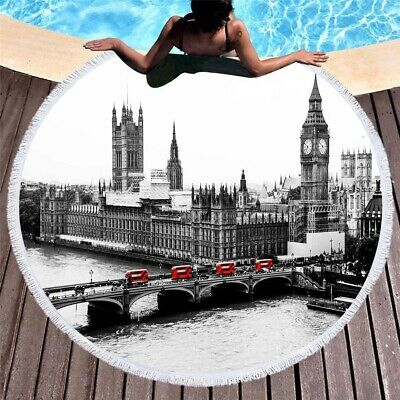 Famous Scenic Spot Big Ben Eiffel Tower Venice Ship Large Beach Towel Tapestry