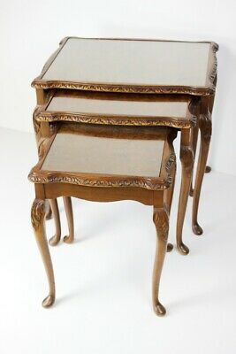 Vintage Carved Walnut Nest of 3 Tables - FREE Shipping [PL5042]
