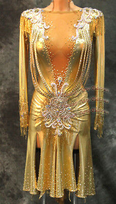 L1159 Ballroom Rhythm salsa Latin samba swing dance dress UK 8 gold  sleeve