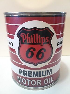 Vintage Phillips 66 Motor Oil Can 1 qt. - ( Reproduction Tin Collectible )