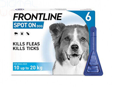 Frontline Spot On Flea and Tick Treatment for Medium Dog (10-20kg) 6 Pipettes