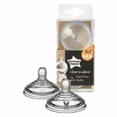 TOMMEE TIPPEE Fast Flow Teats 2-Pack Clear Anti Colic Closer to Nature NEW